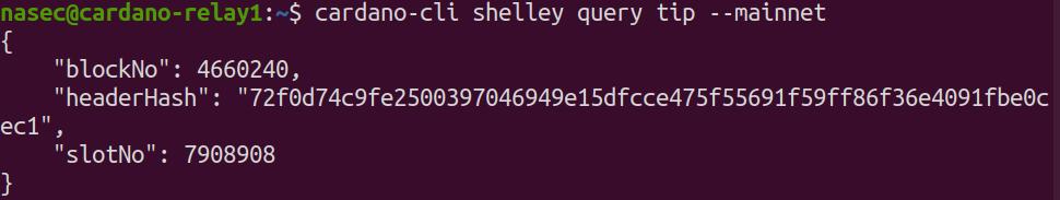 "cardano-cli shelley query tip --mainnet {     ""blockNo"": 4660240,     ""headerHash"": ""72f0d74c9fe2500397046949e15dfcce475f55691f59ff86f36e4091fbe0cec1"",     ""slotNo"": 7908908 }"