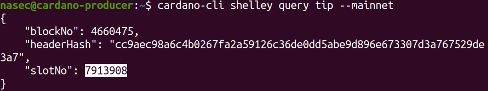 cardano-cli shelley query tip --mainnet